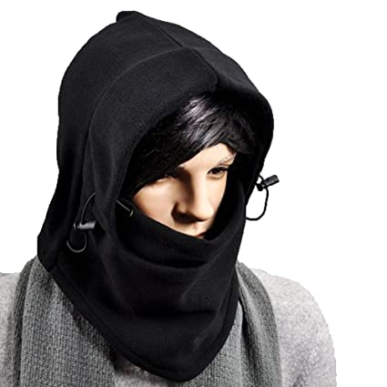 1ec4278ab Eforstore Hooded Hats Tactical Balaclava Full Face Winter Outdoor Sports CS  Mask Thermal Warm Fleece Head and Neck Cover Double Layer Warmer Windproof  ...