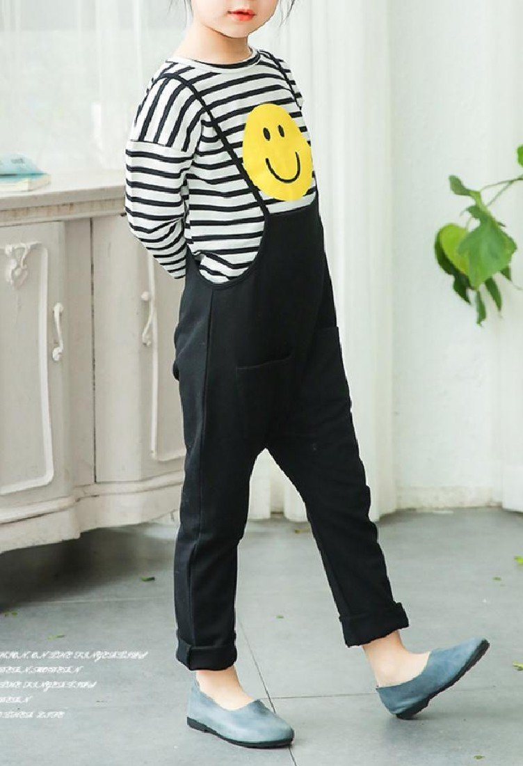 Sheng Xi Girls Stripes Casual Fine Cotton Tops +Pants Overalls Outfits Black 120 by Sheng XiBaby (Image #2)