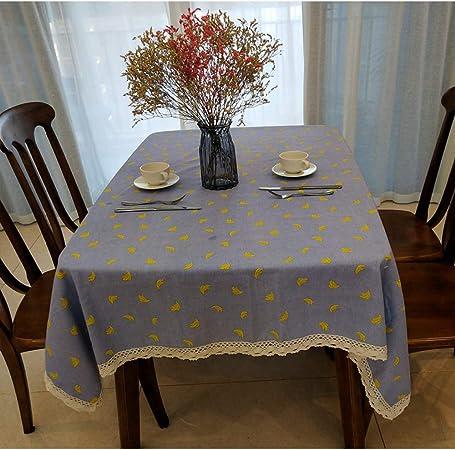 CFWL Mantel de Tela de plátano de Lino de algodón Mantel Mantel Antimanchas Cuadrado Verde: Amazon.es: Hogar