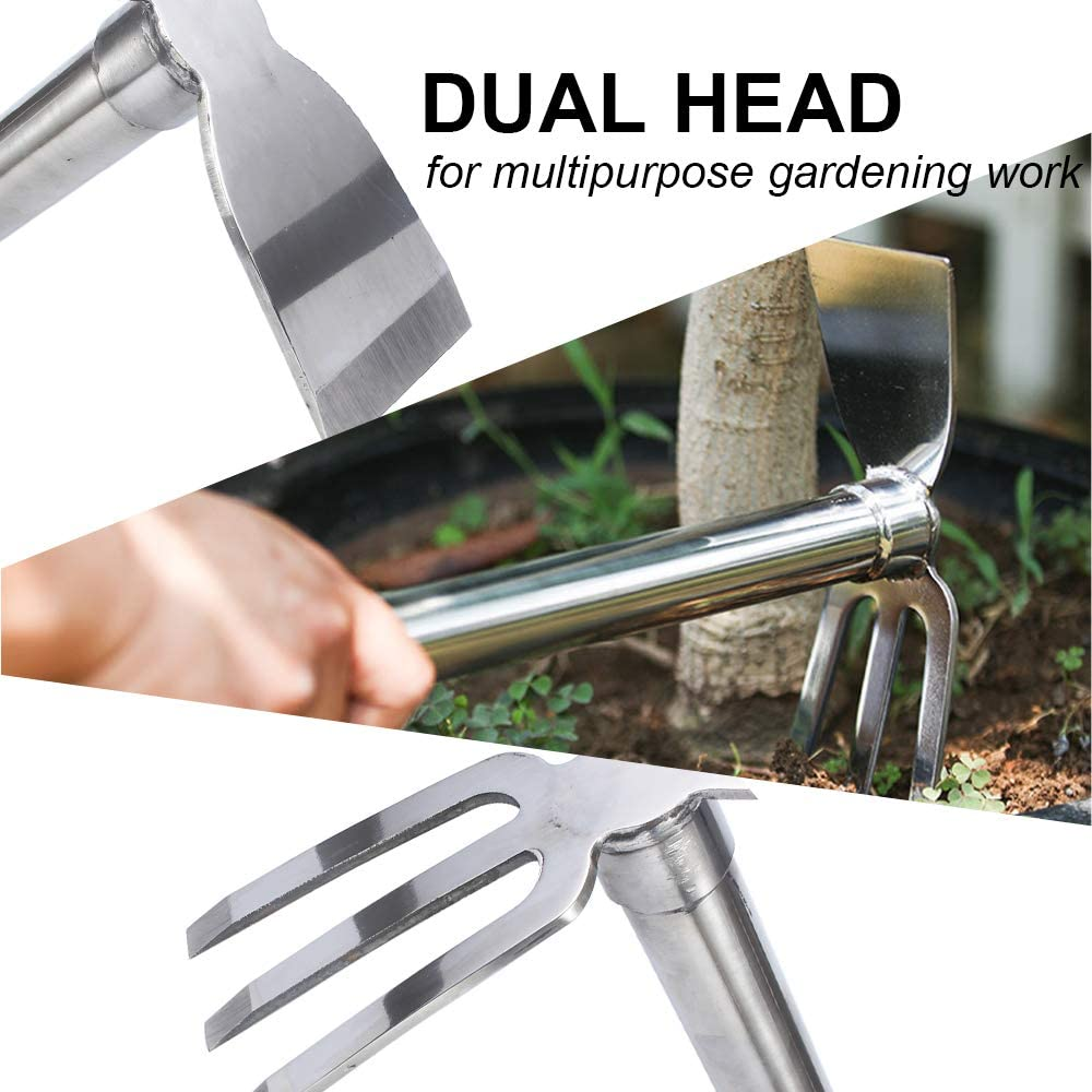 Digging no Rust etc Suitable for Gardening Work Such as Weeding Multi-Purpose Stainless Steel Hoe is Strong and Durable Planting Anti-Corrosion N-A Garden Hoe
