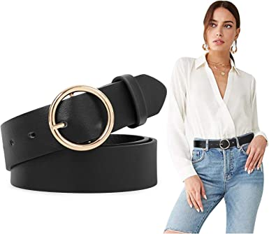 Women PU leather belt Simple retro fashion Smooth buckle Women belt casual decoration Women dress belt