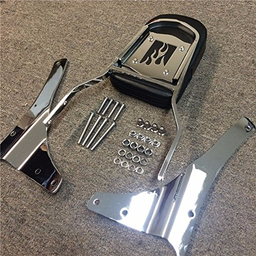 (HTT Group Motorcycle Chrome Flame Fire Backrest Sissy Bar For 2005-2012 Suzuki Boulevard M50 VZ800 C50 VL800 C50T VL800T C50C VL800C /2001-2004 Suzuki Intruder Volusia 800 VL800)