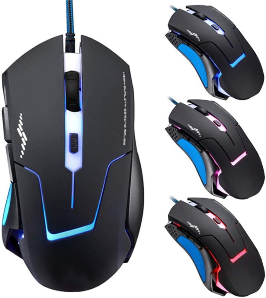 BINGFEI Professional 6D 3200DPI LED Optical Wired Computer Laptop Gaming Mouse for Pro Gamer,Black