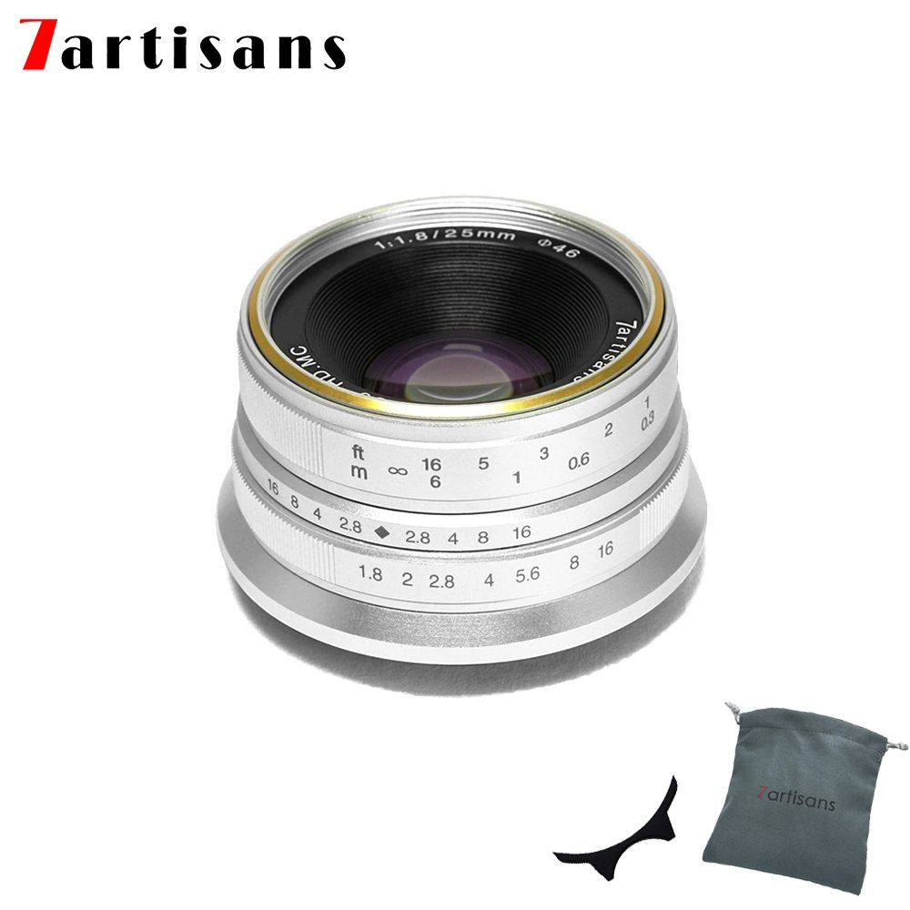 7artisans 25mm F1.8 APS-C Manual Fixed Lens for Micro Four Thirds MFT M4/3 Cameras Panasonic G1 G2 G3 G4 G5 G6 G7 GF1 GF2 GF3 GF5 GF6 GM1 Olympus EMP1 EPM2 E-PL1 E-PL2 E-PL3 E-PL5 (Silver) by 7artisans