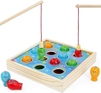 Symiu Juguetes Niños Juego de Pesca de Mesa Juegos Magneticos Educativos Regalo para Niños Niñas 3 4 5 6 Años con 2 Caña de Pescar 12 pez de Juguete: Amazon.es: Juguetes y juegos