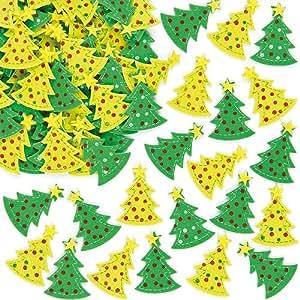Pegatinas de fieltro en forma de árbol de Navidad para decorar tarjetas, manualidades y collages infantiles (pack de 60)
