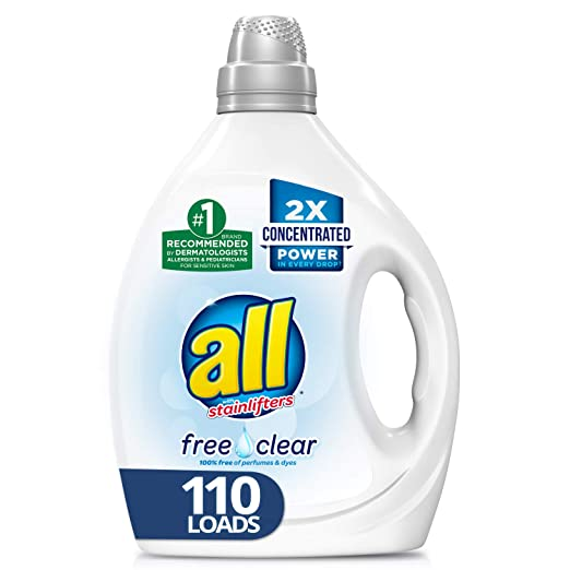 all Liquid Laundry Detergent, Free Clear for Sensitive Skin, 2X Concentrated, 110 Loads
