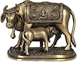 Cow and Calf - Most Sacred Animal of India (Saddle Decorated with the Figure of Ganesha) - Brass Statue