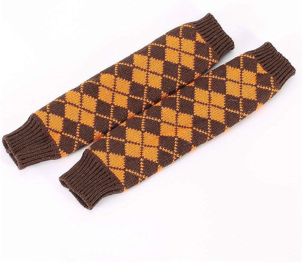 iTLOTL Women Winter Wrist Arm Warmer Rhombus Knitted Fingerless Gloves Mitten