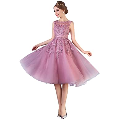 Damen Elegant Abendkleid Applique Spitze Brautjungfernkleid ...
