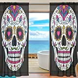 SEULIFE Window Sheer Curtain, Mexican Floral Sugar Skull Voile Curtain Drapes for Door Kitchen Living Room Bedroom 55x78 inches 2 Panels