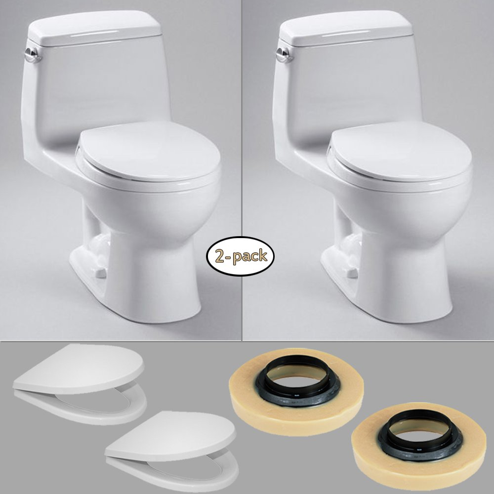 85%OFF TOTO 2 x Eco UltraMax One-Piece Toilets (1.28 GPF) with 2 Wax Rings & 2 Toilet Seats