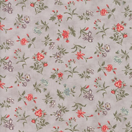 Small, Delicate Floral, Coral, Gray, Green, Quill, 3 Sisters, Moda, By the Yard ()