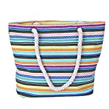 Large Bohemian for Women Canvas Beach Bag Striped Travel Hobo Tote Bag With Waterproof Lining (Striped 3)