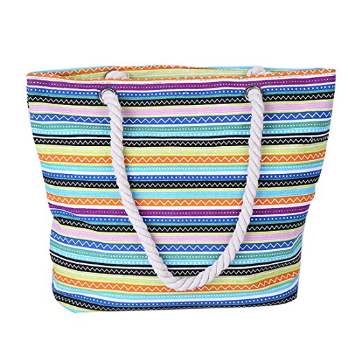 Bag Lining Bag Bohemian Striped Waterproof for Canvas 1 Travel Women Large Beach Hobo Tote Striped With qXvO7XwdA