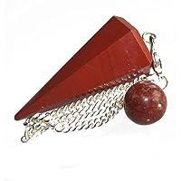 Piedra Preciosa Jaspe Rojo Punto Adivinación Curativo Péndulo