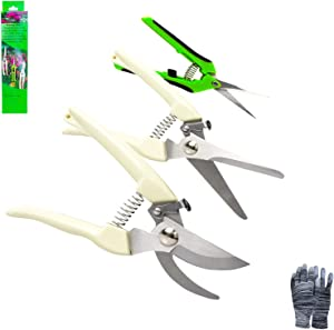 YOUSHENGER 3 Pack Garden Pruning Shears Stainless Steel Blades Handheld Pruners Set Professional Gardening Scissors for Cutting Live Flowers, Plants, Light Branches with Gardening Gloves