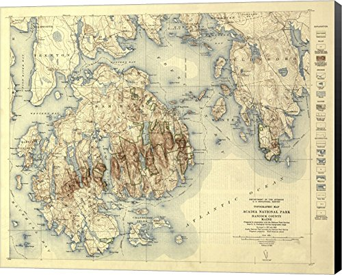 Acadia National Park Map by Lantern Press Canvas Art Wall