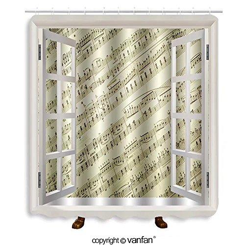 Vanfan designed Windows 3338476 Vintage music notes background Shower Curtains,Waterproof Mildew-Resistant Fabric Shower Curtain For Bathroom Decoration Decor With Shower Hooks