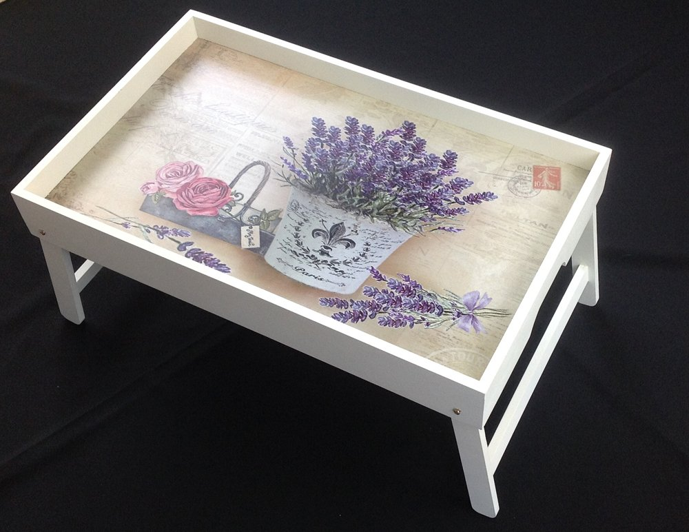 Original GMMH Laptop Lavender Tray Underlay Folding Table Bed tray Breakfast tray serving tray foldable Bed table tray Paris London Cottage