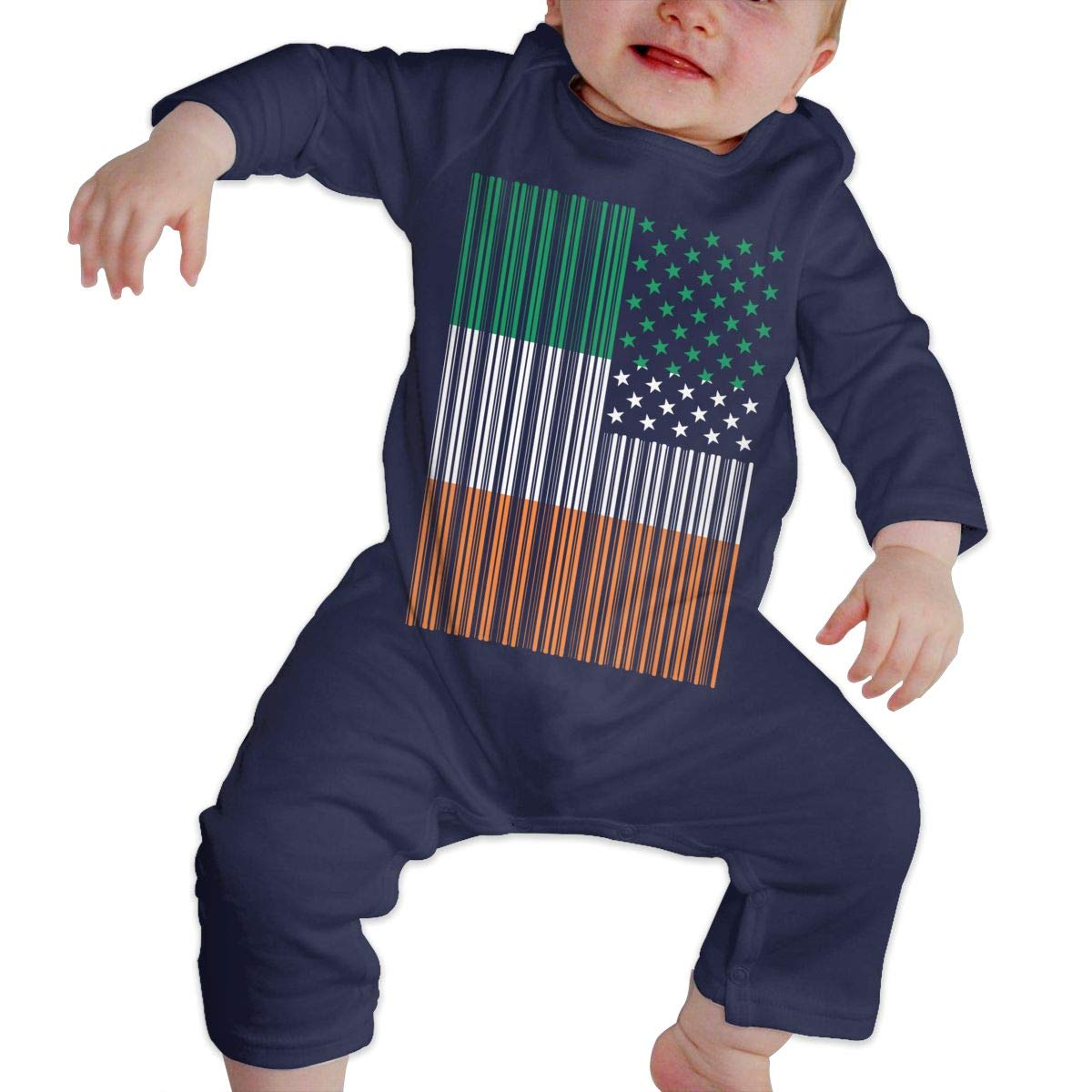 Bar Coded USA Irish Flag Infant Baby Girl Boys Sleep and Play Jumpsuits Playsuit Outfits