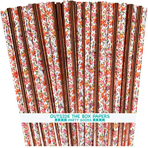 Vintage Floral and Rose Gold Solid Foil Paper Straws - 7.75 Inches - 100 Pack Vintage Foil