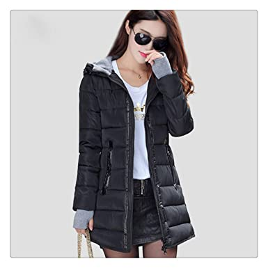 1cdd2b54da Image Unavailable. Image not available for. Color: Nhequren Warm Winter  Jackets Women Fashion Down Cotton Parkas Casual Hooded Long Coat Thickening  Zipper ...