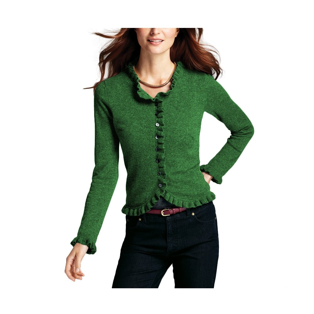 Parisbonbon Women's 100% Cashmere Crew Neck Cardigan Color Apple Green Size S by Parisbonbon