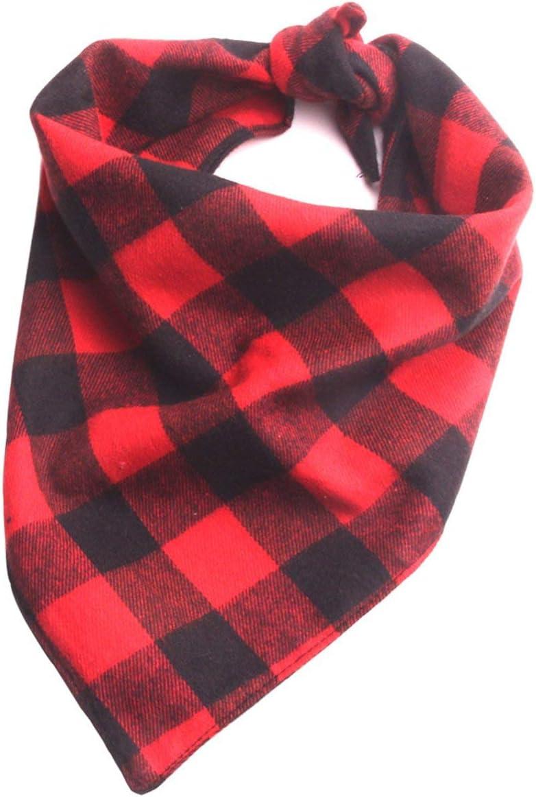 BIYI Double-layer cotton plaid Dog Bandana Collar Scarf Bib Grooming Accessories Triangular Bandage Collars best gift for Pet black/&red