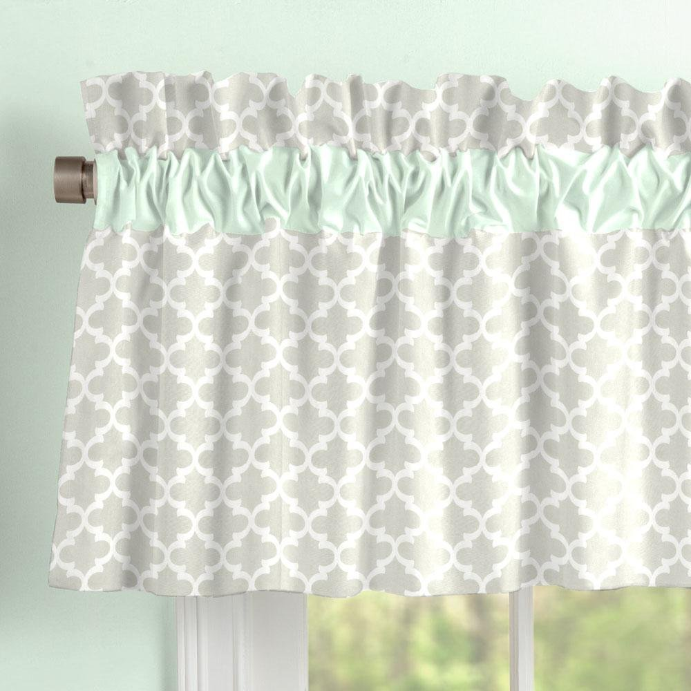 Carousel Designs French Gray and Mint Quatrefoil Window Valance Rod Pocket