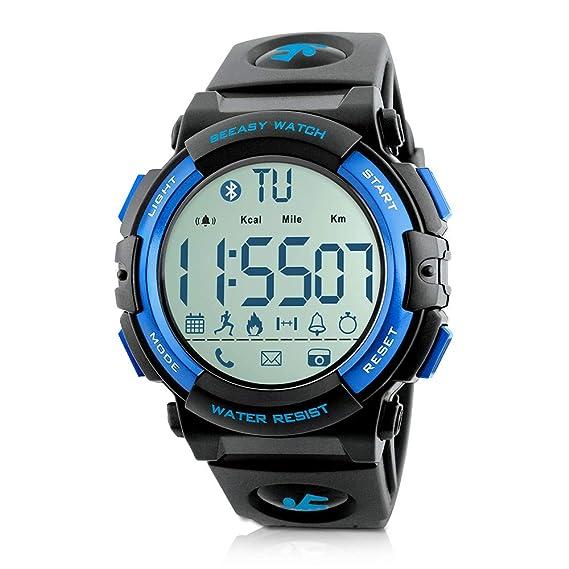 Beeasy Reloj Deportivo Hombre,Relojes Digital Impermeable Watches Inteligente Bluetooth Fitness Tracker Contador Calorías Podómetro Cámara Remota App ...