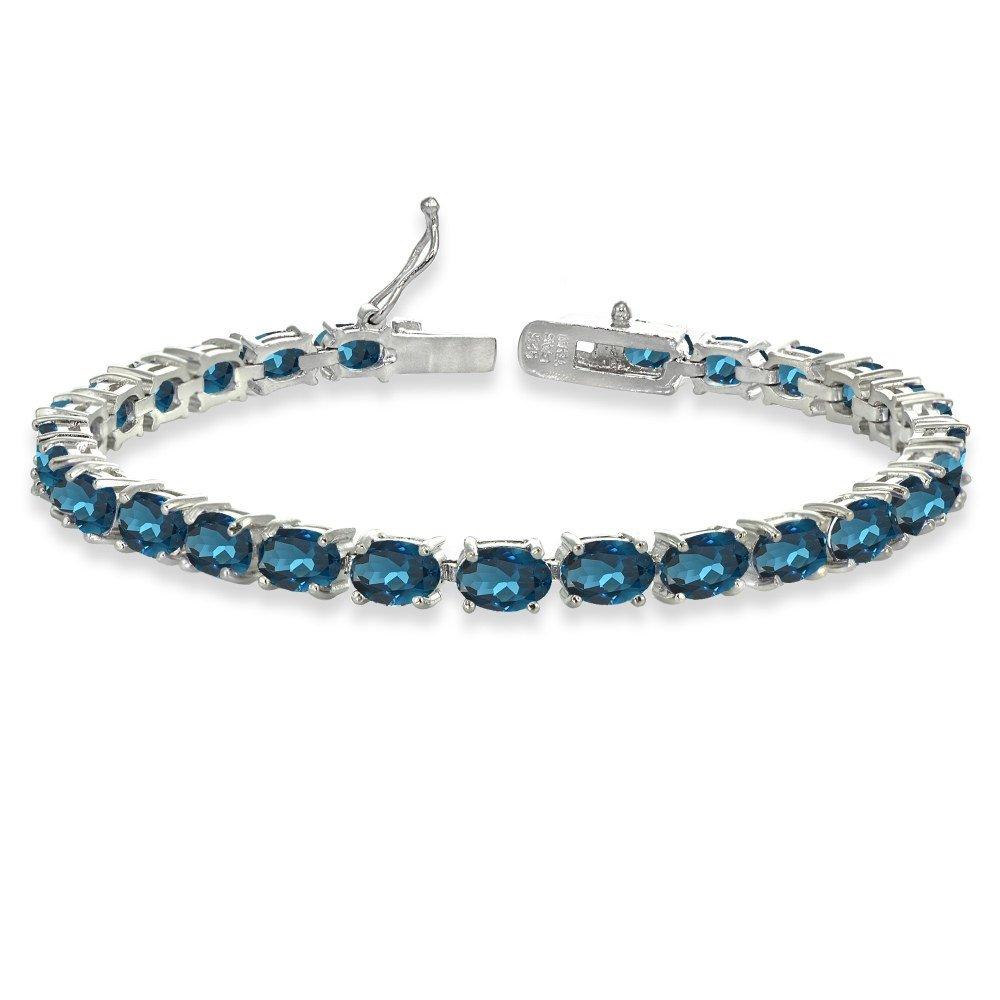 Sterling Silver 6X4mm London Blue Topaz Oval-cut Tennis Bracelet