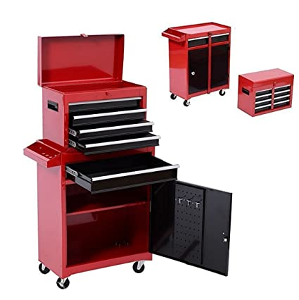 Tenive Pro Deluxe 5 Drawers Top Removable Rolling Mobile Tool Cabinet Tool  Box Tool Storage Chest