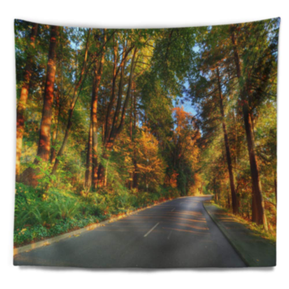in 39 in x 32 in Designart TAP14397-39-32  Road Through Yellow Forest Landscape Blanket D/écor Art for Home and Office Wall Tapestry Medium