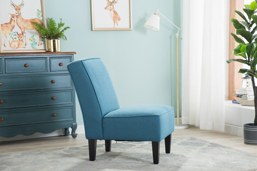 Changjie Cushioned linen Armless Settee Loveseat Sofa Couch Home Casual Living Room Sleeper (One Seat Blue) by Changjie (Image #6)