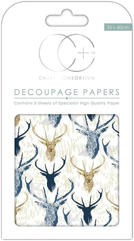 Craft Consortium Premium Decoupage Papers Stag Repeat