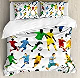 Lunarable Boy's Room Duvet Cover Set King Size, Collection of Soccer Players in Different Positions Hitting the Ball Goal Win, Decorative 3 Piece Bedding Set with 2 Pillow Shams, Multicolor