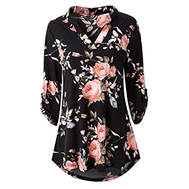 a64fef6376c Lelili Clearance Women Boho Floral Shirt Vintage Flower Print Long Sleeve V  Neck Flowy Swing Loose
