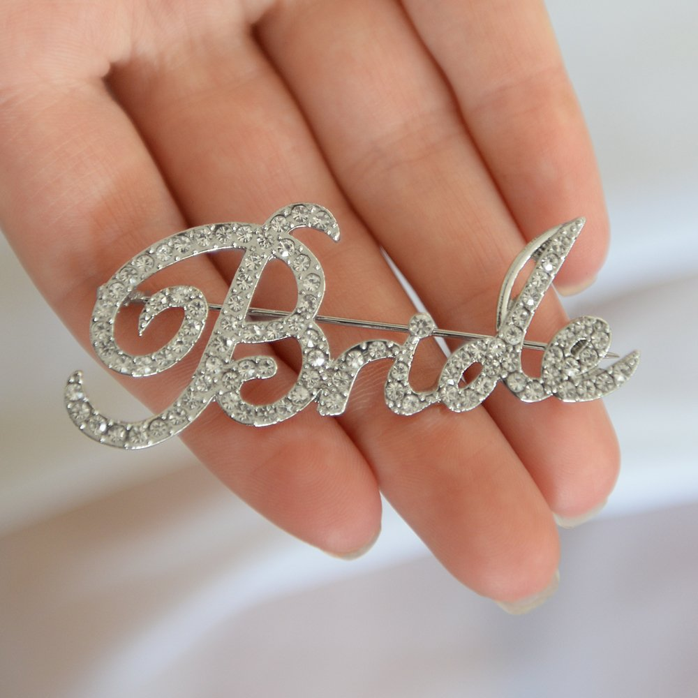 Mariell Crystal Rhinestone Bride Brooch Pin in Script Lettering - Bachelorette & Bridal Shower Gift! by Mariell (Image #2)