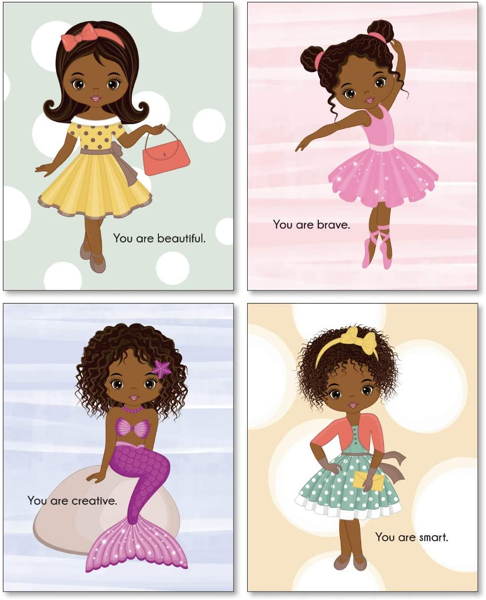 Confetti Fox Black Little Girl Wall Art, Motivational Positive Affirmations, African American Toddler Room Quotes Posters, Beauty Magic Fashion Ballerina Mermaid Decor (8x10 Unframed Set of 4 Prints)