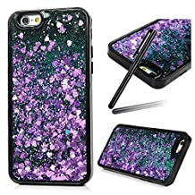 5S Case,iPhone 5 Case,iPhone SE Case,SKYMARS 3D Creative Funny Liquid Quicksand Dynamic Flowing Floating Bling Glitter Sparkle Hard Bottom PC + Flexible Soft TPU Bumper Case for for iPhone 5 / 5S / SE [Black] Purple love