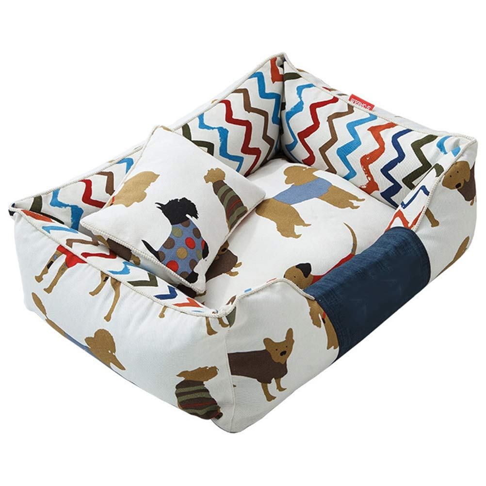 M GYR28656 Soft and comfortable Square removable dog bed sofa pet bed washable canvas Oxford cloth PP cotton cartoon pattern dog pad Pet cat dog cave (Size   M)