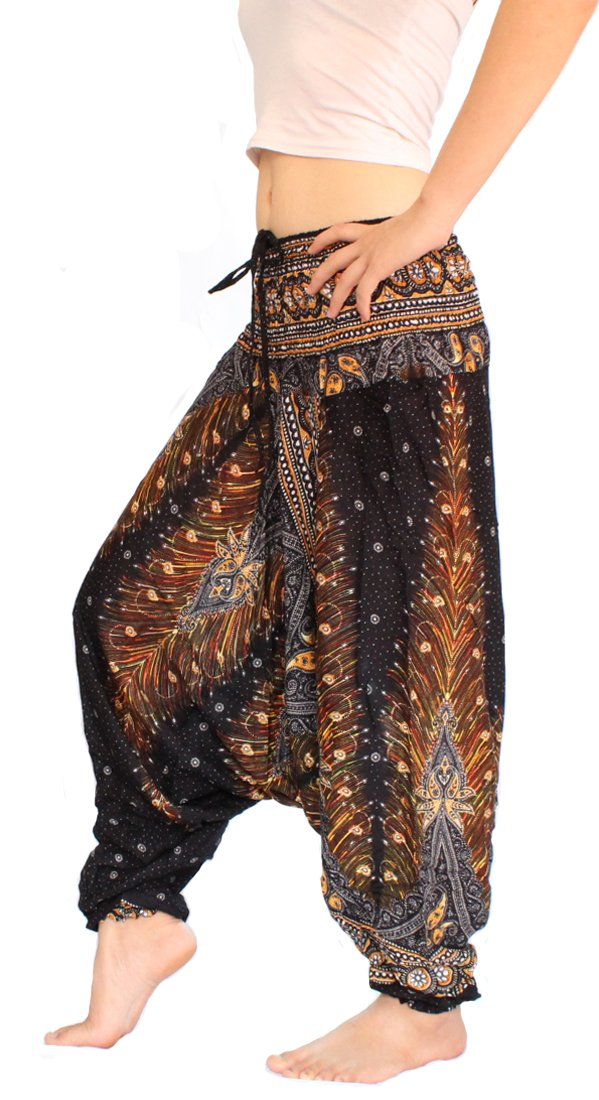 Banjamath Women's Peacock Print Aladdin Harem Hippie Pants Jumpsuit (Black) One Size