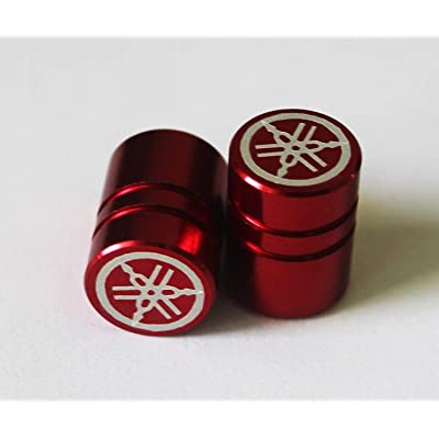 YAMAHA 90338-W1015-RE - Set of 2 Genuine Tuning Fork Plain Finish Red Tyre Tire Valve Caps Dust Caps Protectors for Motorcycles, Bicycles, ATV, Car, Van: Automotive