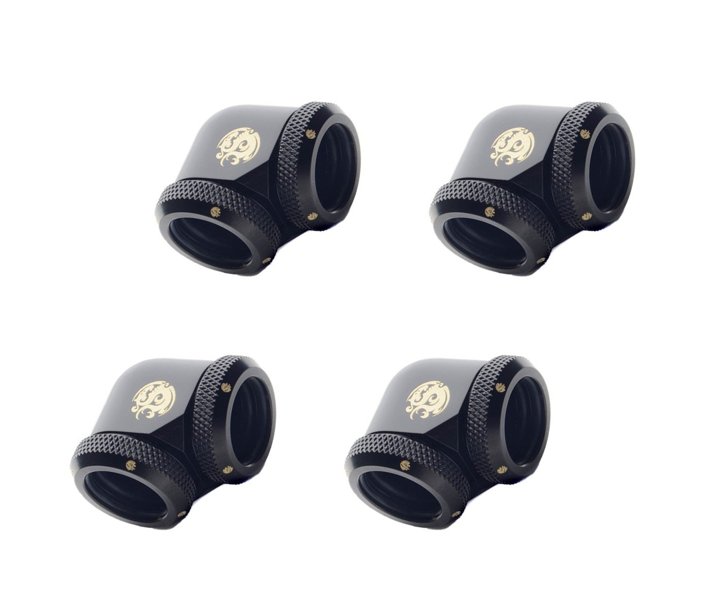 Bitspower Dual Enhance Multi-Link Adapter Fitting for 16mm OD Rigid Tubing, 90° Angle (for Use with Bitspower Rigid Tubing Only), Matte Black, 4-Pack