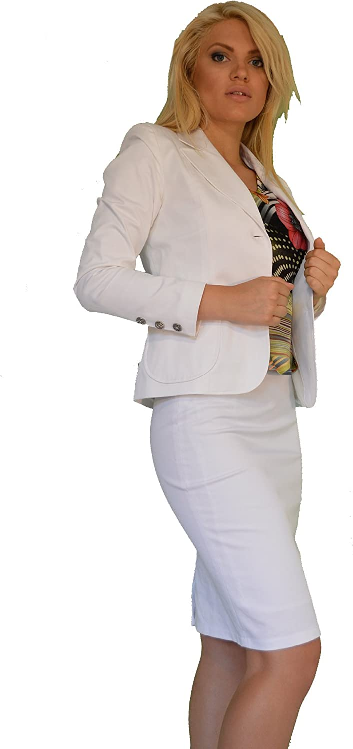 White 2 Piece Skirt Blazer Business Office Manager Work Suit UK 8 10 12 14 16