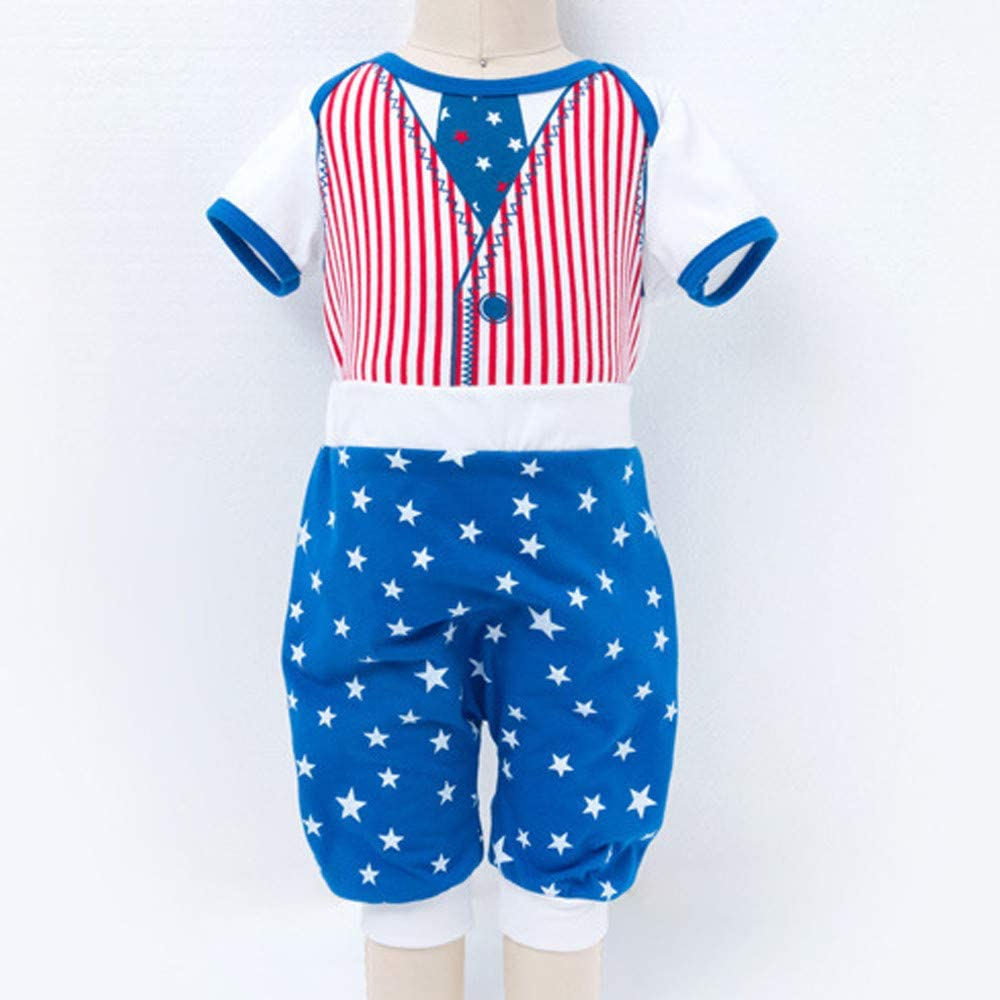 Womola Kids Boys Girl Summer Outfits American Star Short Sleeve T-shirt Tops Pants Outfits Set