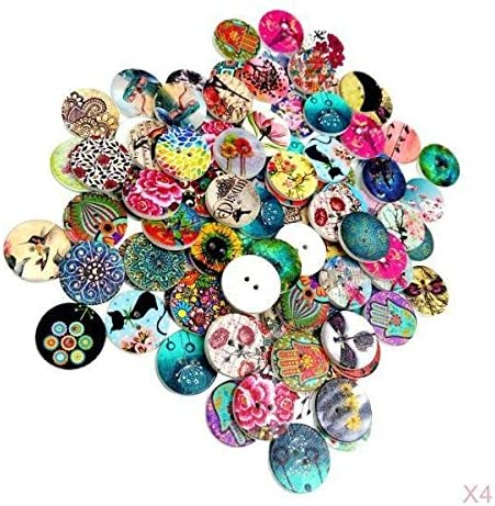 400pcs Printed Wooden Sewing Buttons Assorted for Children Scrapbooking 20mm