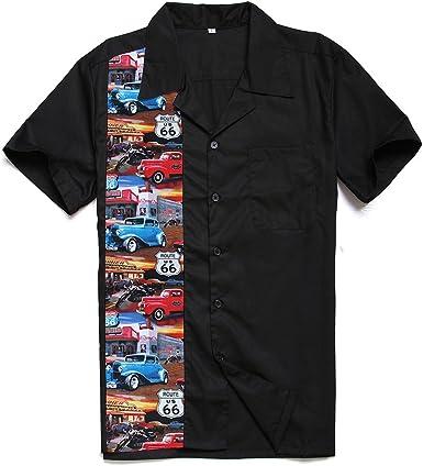 Candow Look moda para hombre casual camisas de vestido cowboy manga corta vendimia pattern: Amazon.es: Ropa y accesorios