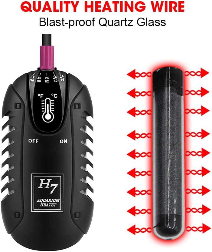 Shatter-Proof for Fish Tank 3-60 Gallon MQ Mini Aquarium Heater 25-200W Betta Fish Tank Heater with LCD Digital Aquarium Thermometer